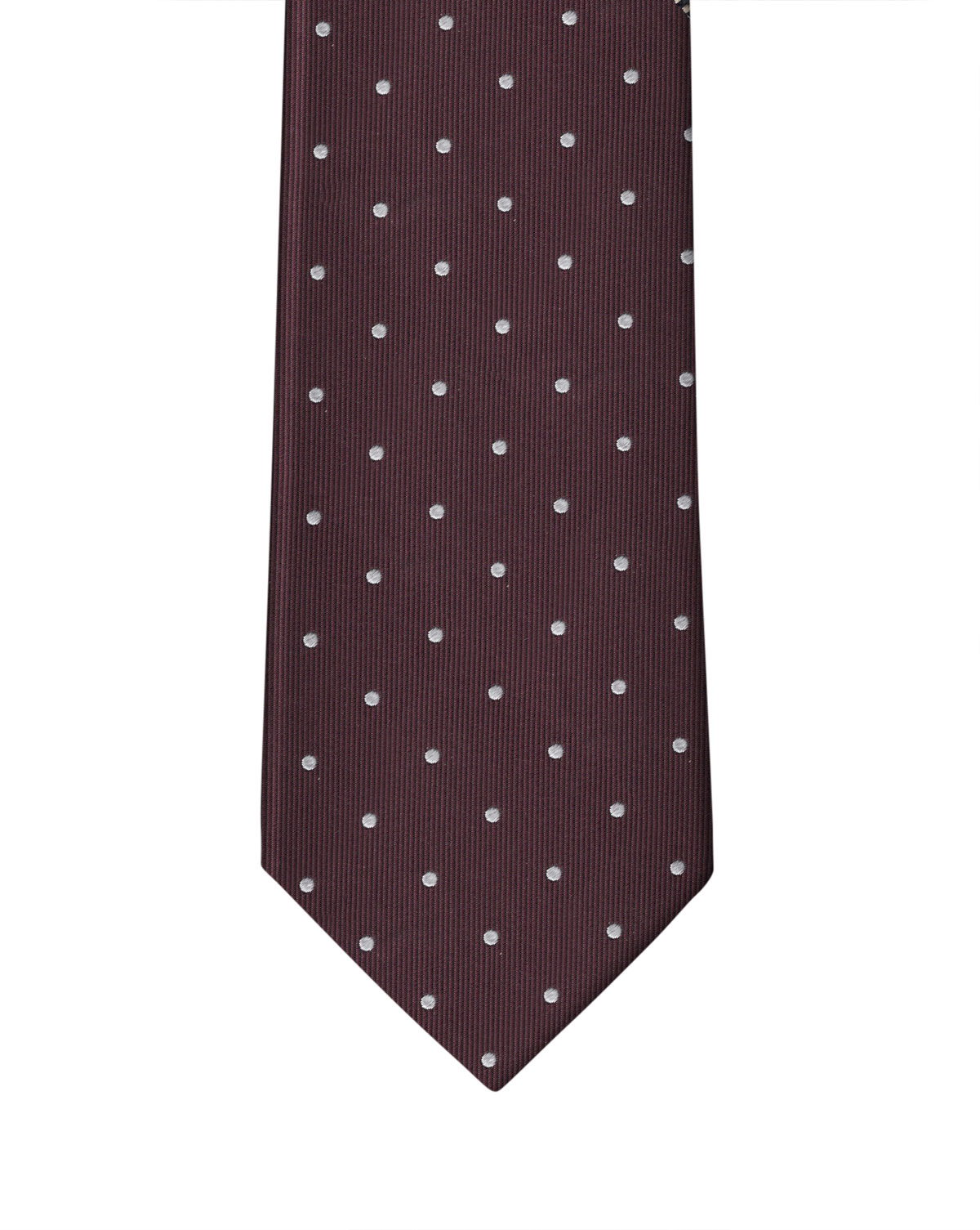 Wine & White Dot Necktie