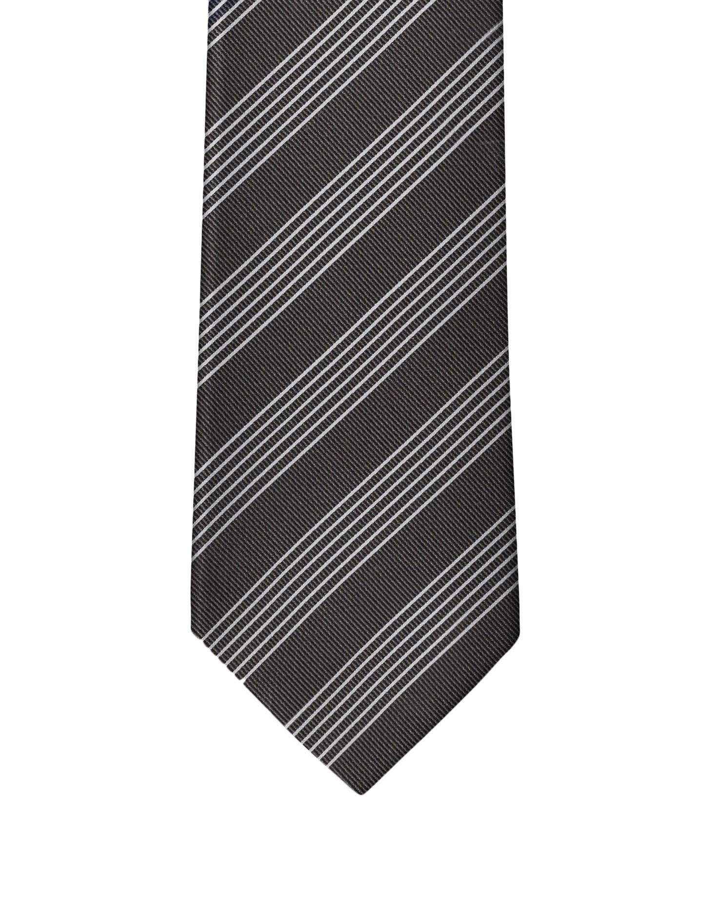 Brown Classic Stripe Necktie