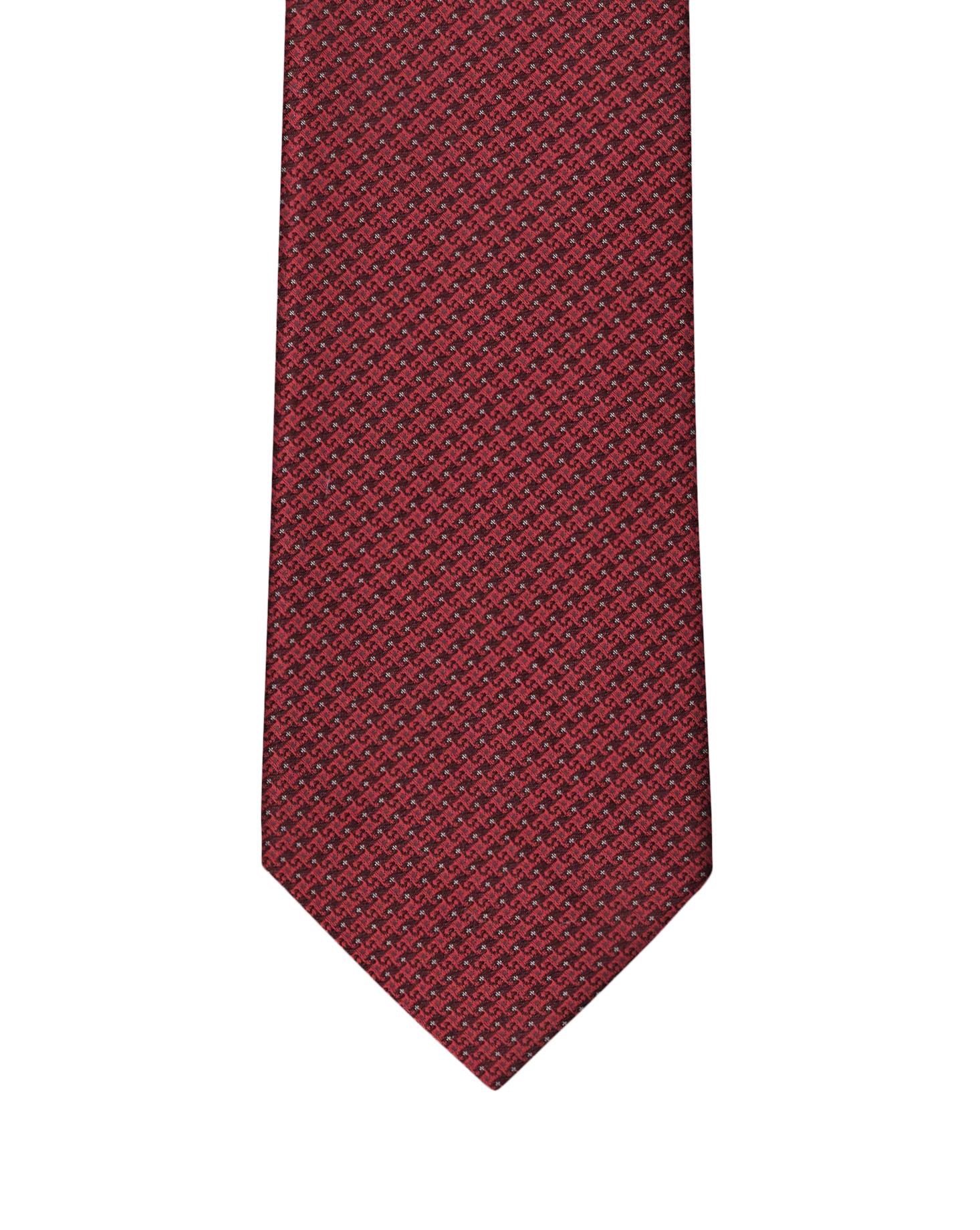 Burgundy & Red Micro Motif Necktie