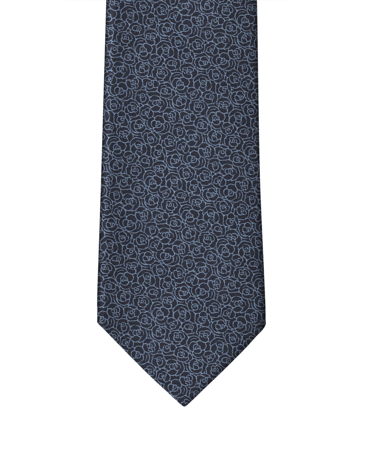 Navy Blue Small Flower Necktie