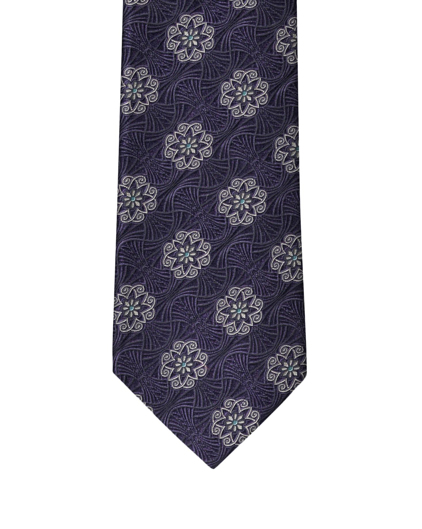 Dk Purple Heraldic Medallion Necktie