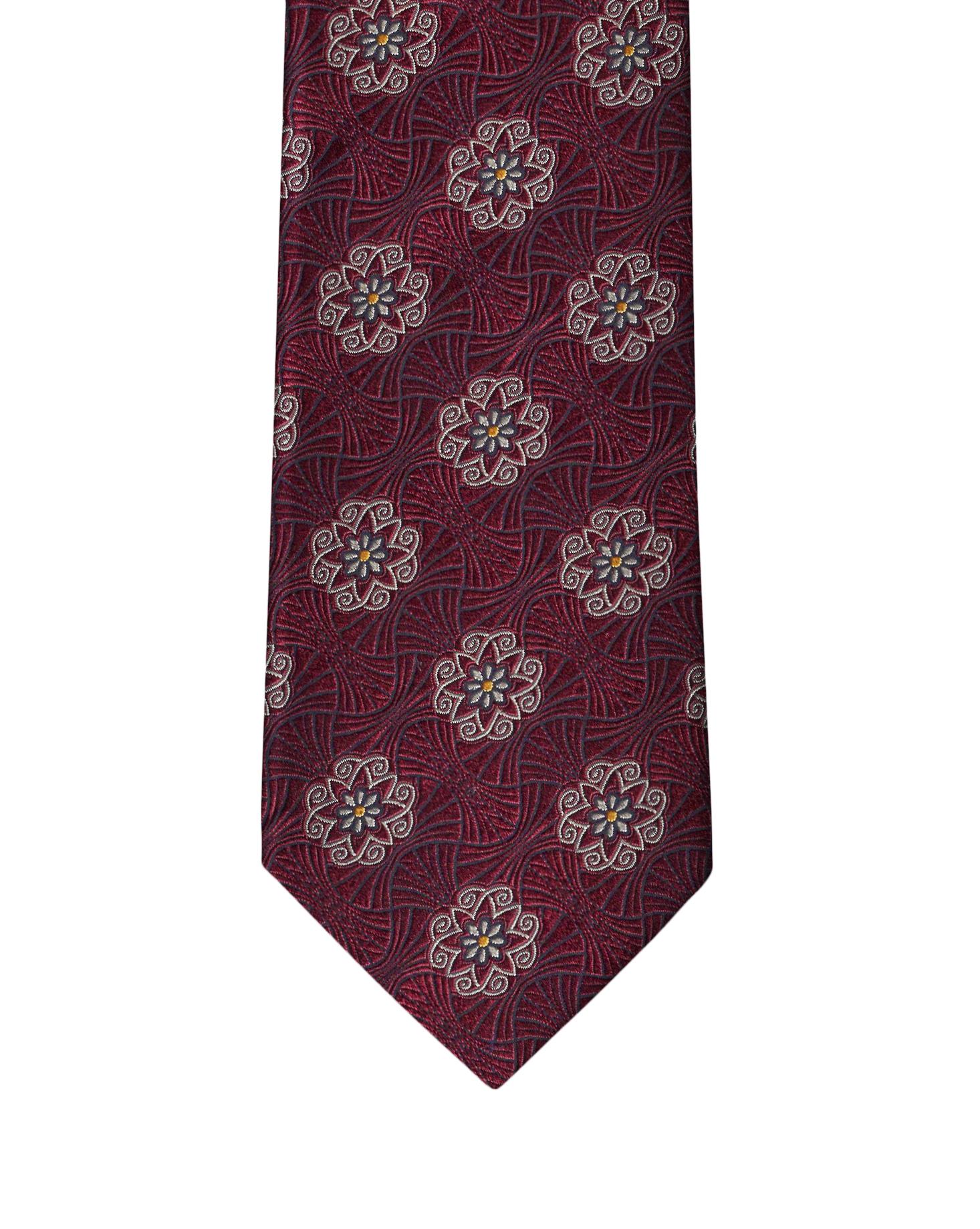 Burgundy Heraldic Medallion Necktie