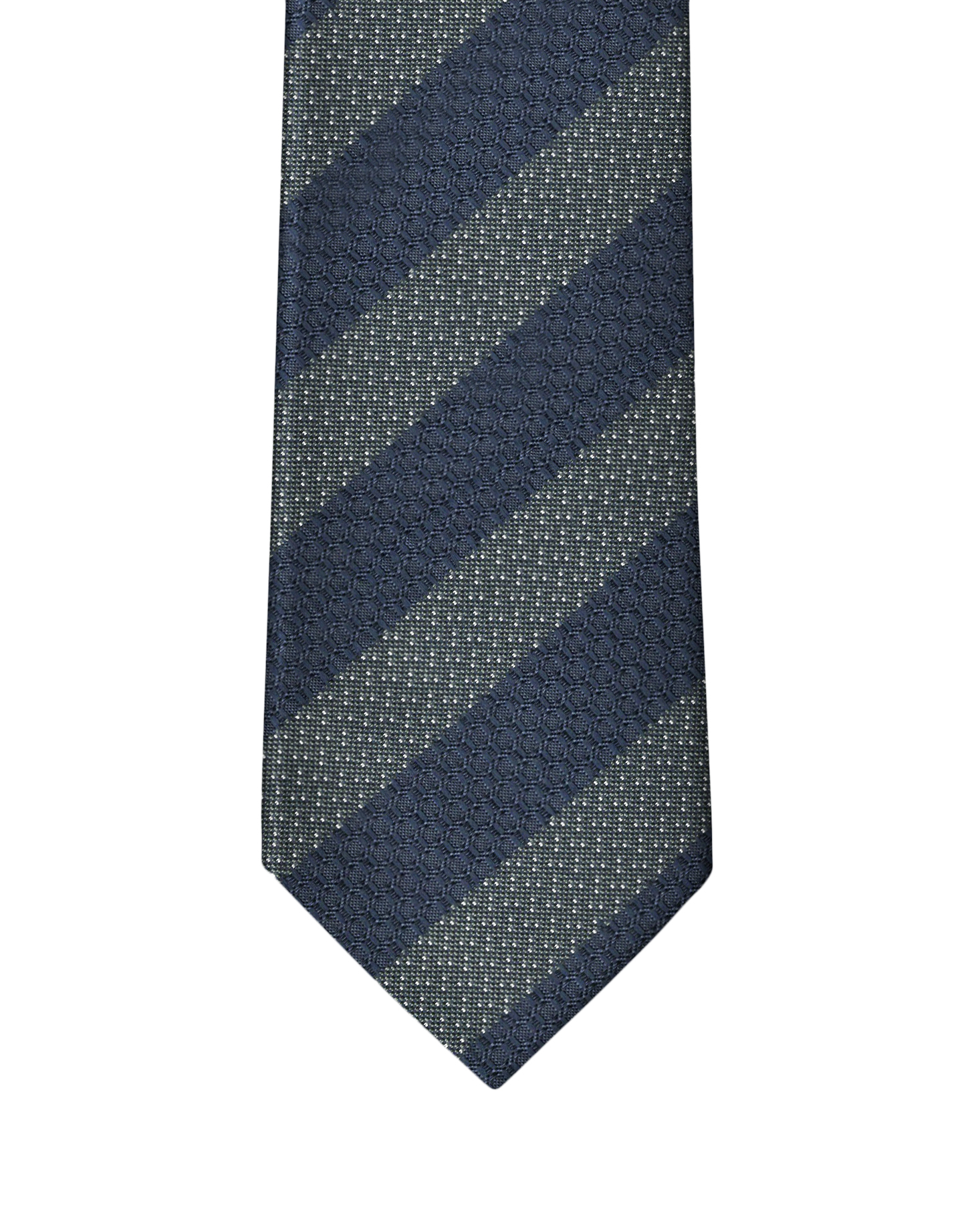 Navy & Green Fancy Stripe Necktie