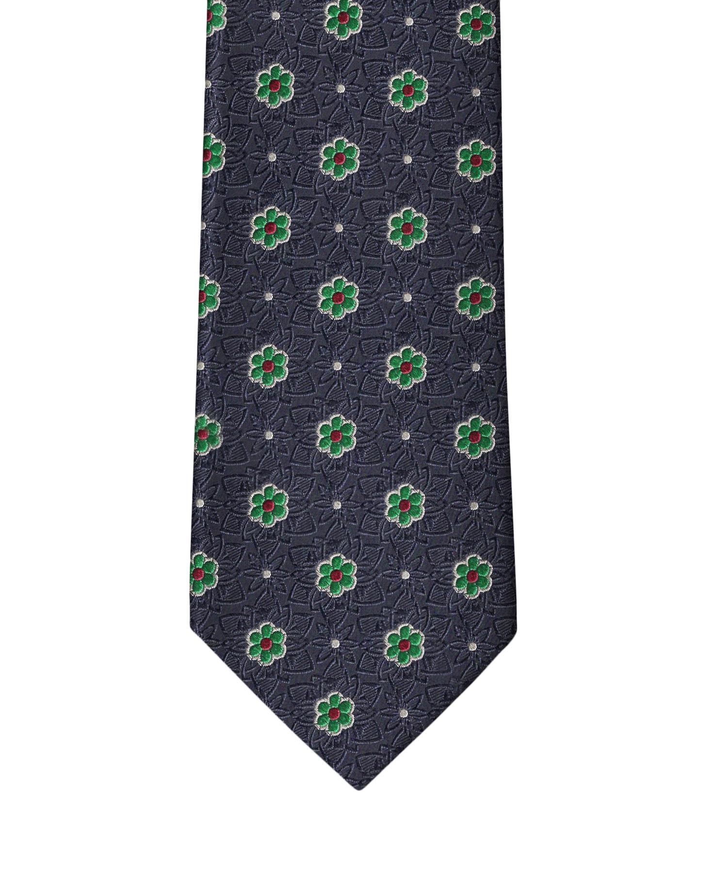 Navy Classic Flower Necktie