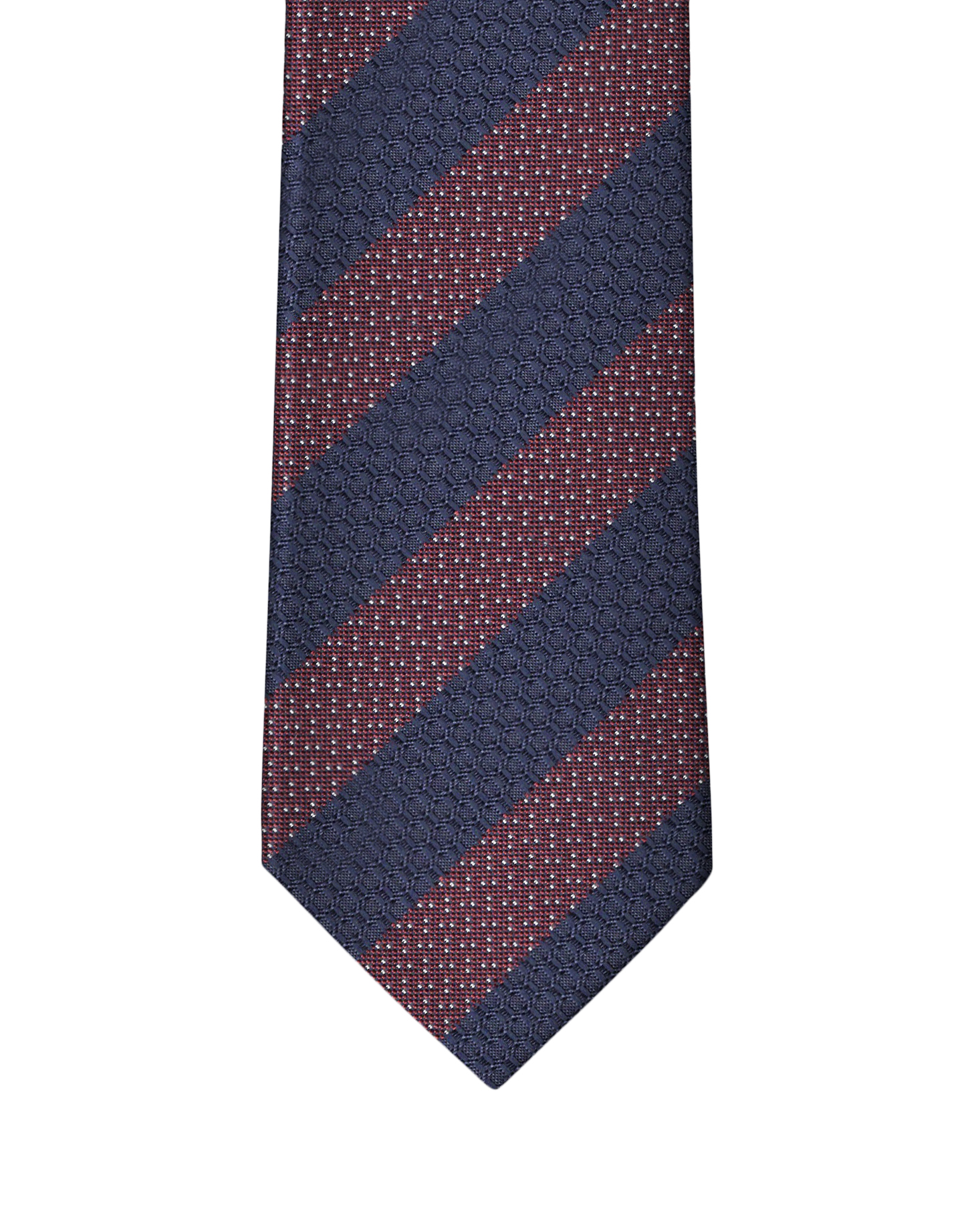 Navy & Burgundy Fancy Stripe Necktie