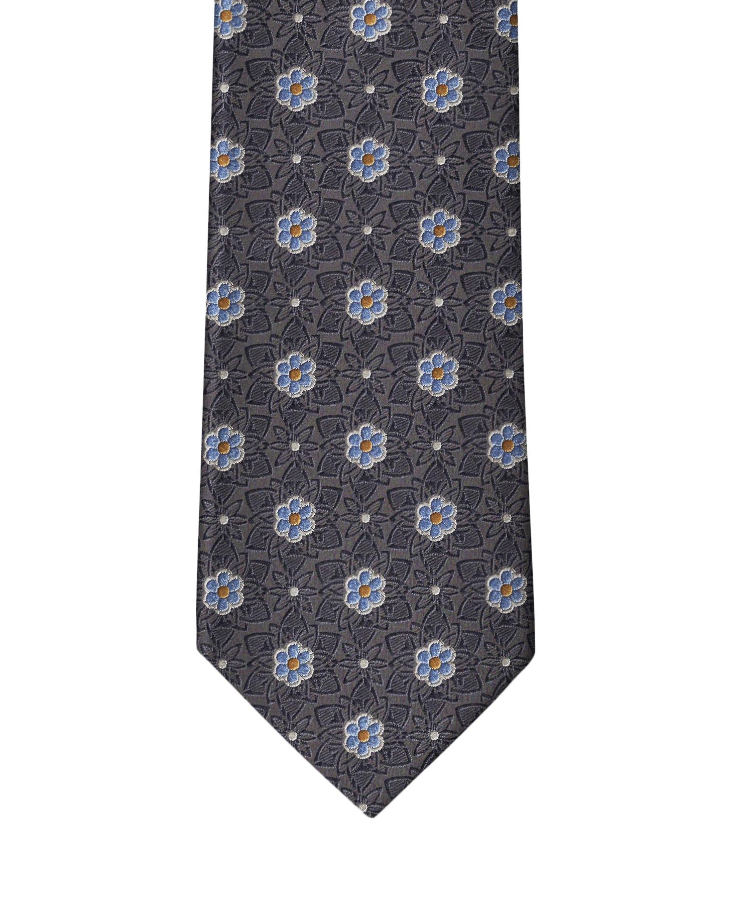 Slate Classic Flower Necktie