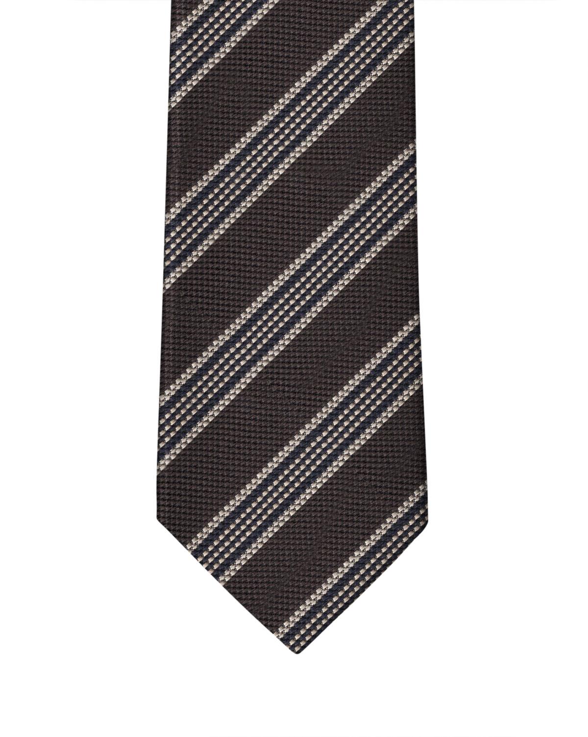 Brown & Cream Elegant Stripe Necktie