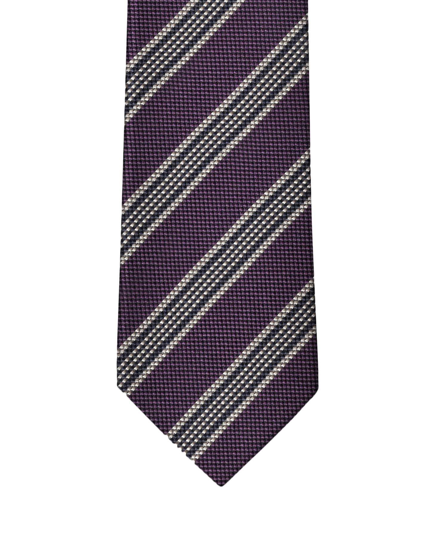 Dk Purple & Cream Elegant Stripe Necktie