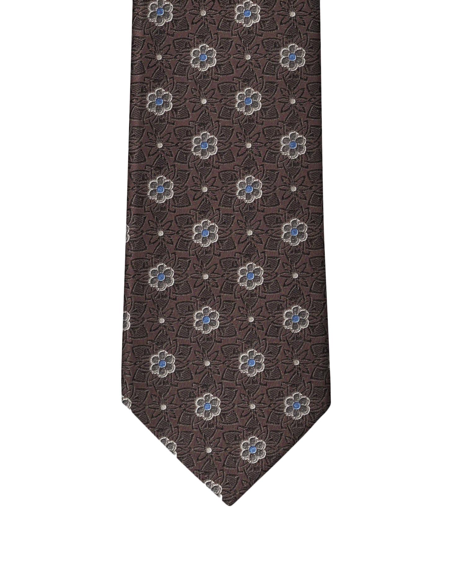 Brown Classic Flower Necktie
