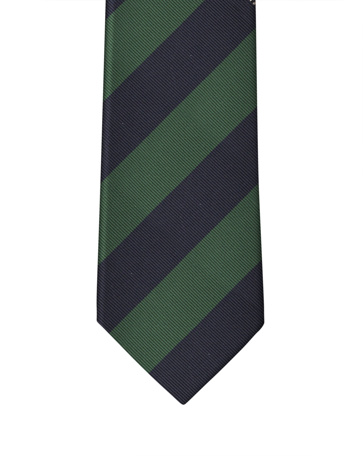 Navy & Green Two Color Rep Stripe Necktie