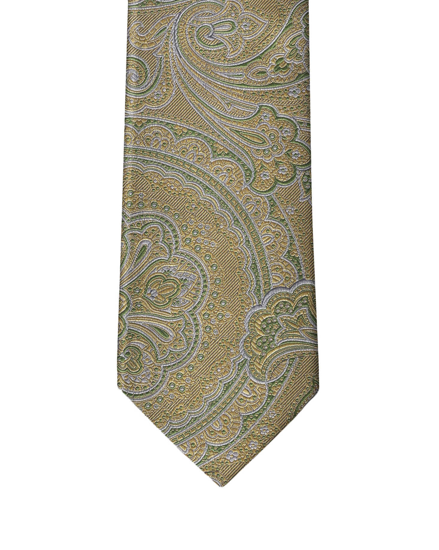 Pastel Yellow & Green Paisley Necktie