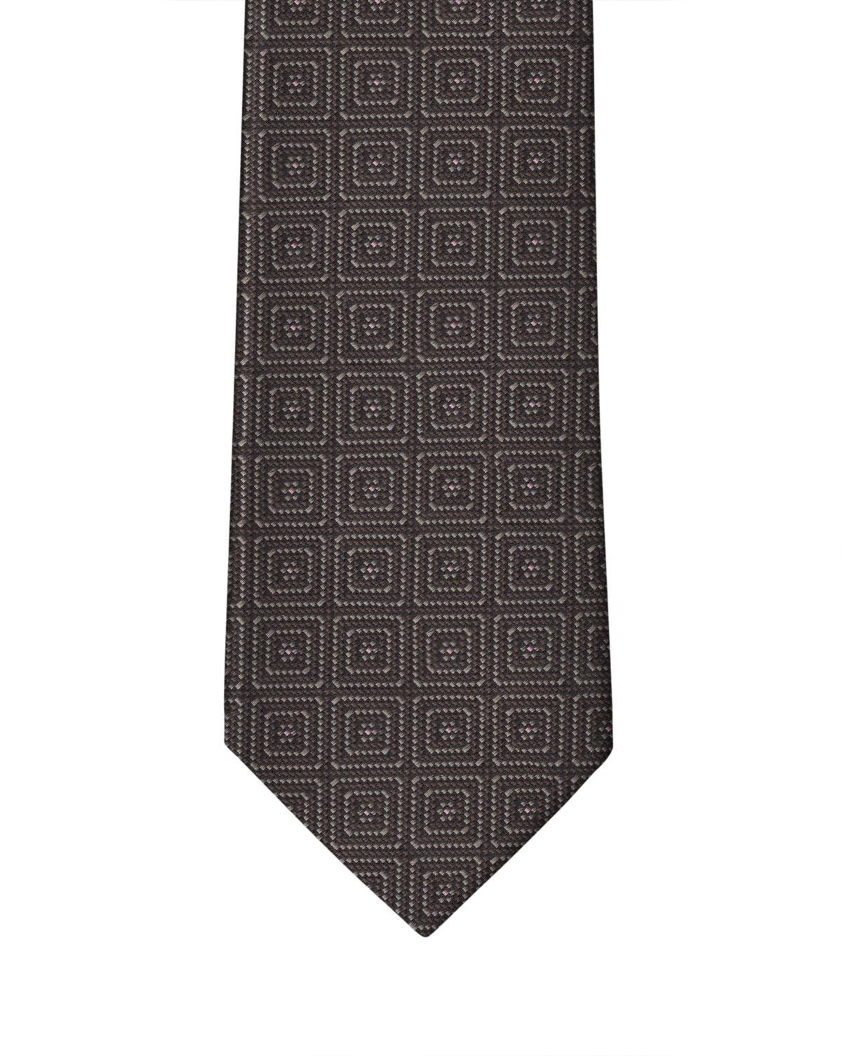 Brown Beige Squared Motif Necktie