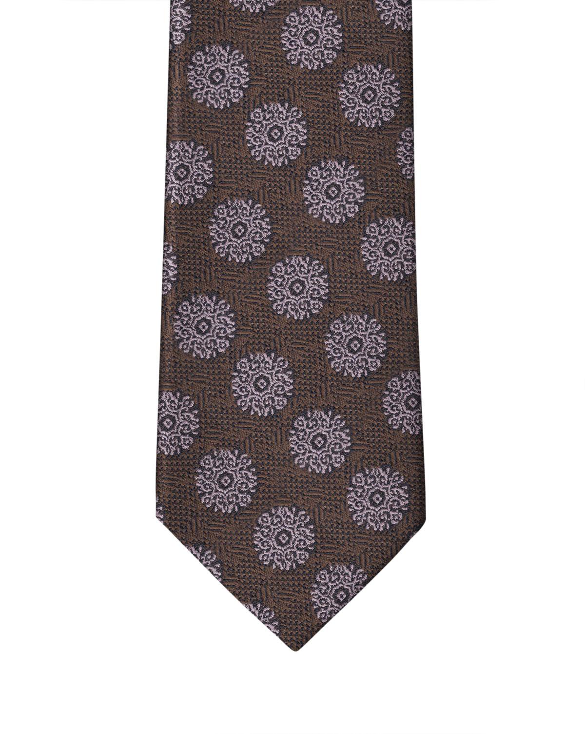 Brown & Mauve Medallion Grenadine Necktie