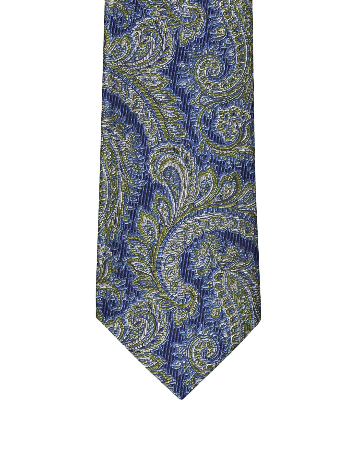 Navy & Lime Green Paisley Necktie