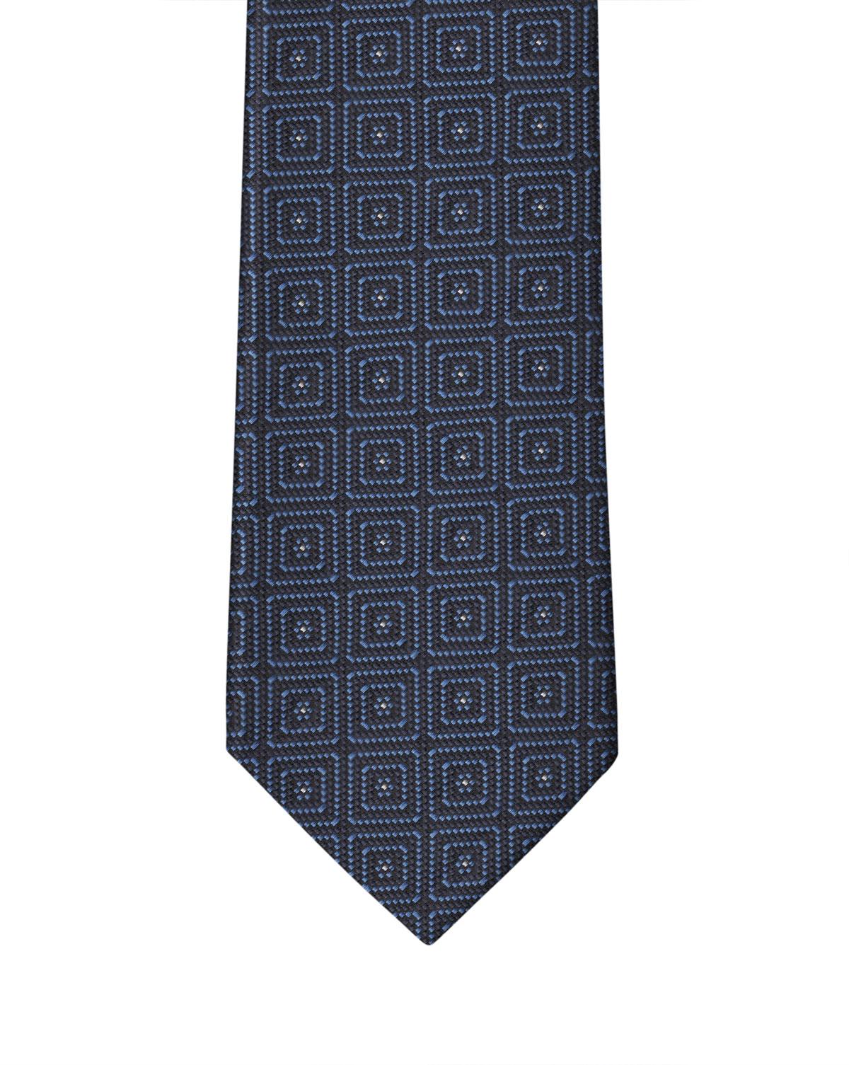 Navy Sax Squared Motif Necktie