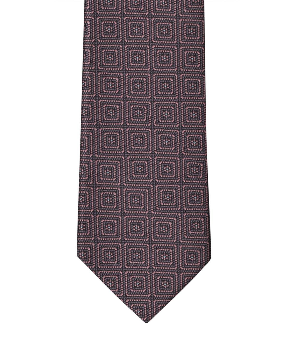 Purple Mauve Squared Motif Necktie