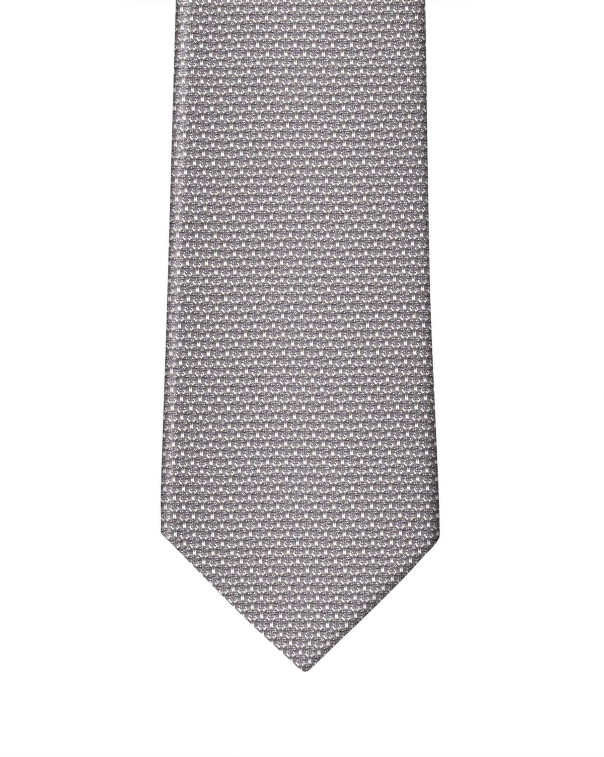 Medium Grey with White Grenadine Necktie