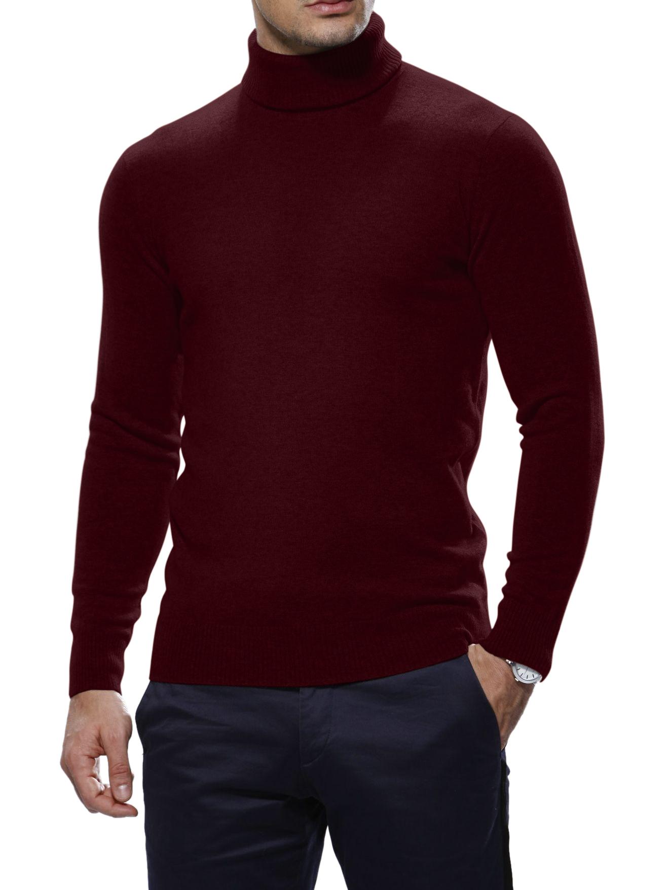 Dark Merlot Merino Wool Turtle Neck Sweater
