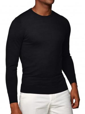 Black Merino Wool Crew Neck Sweater