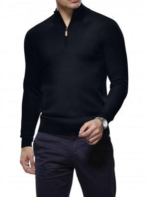 Black Merino Wool 1/4 Zip Mock Sweater