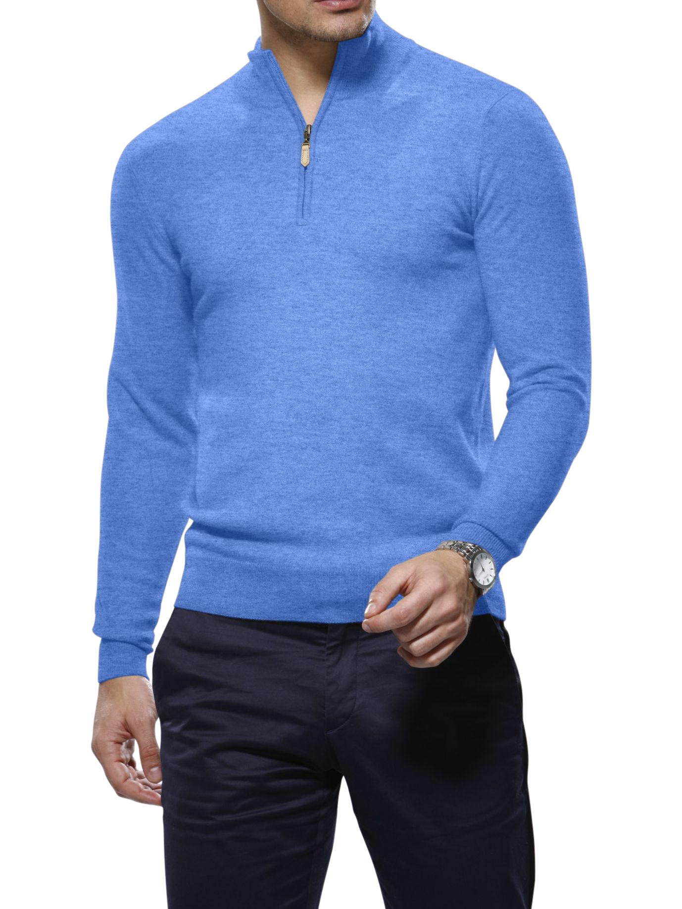 Sky Cashmere 1/4 Zip Mock Sweater