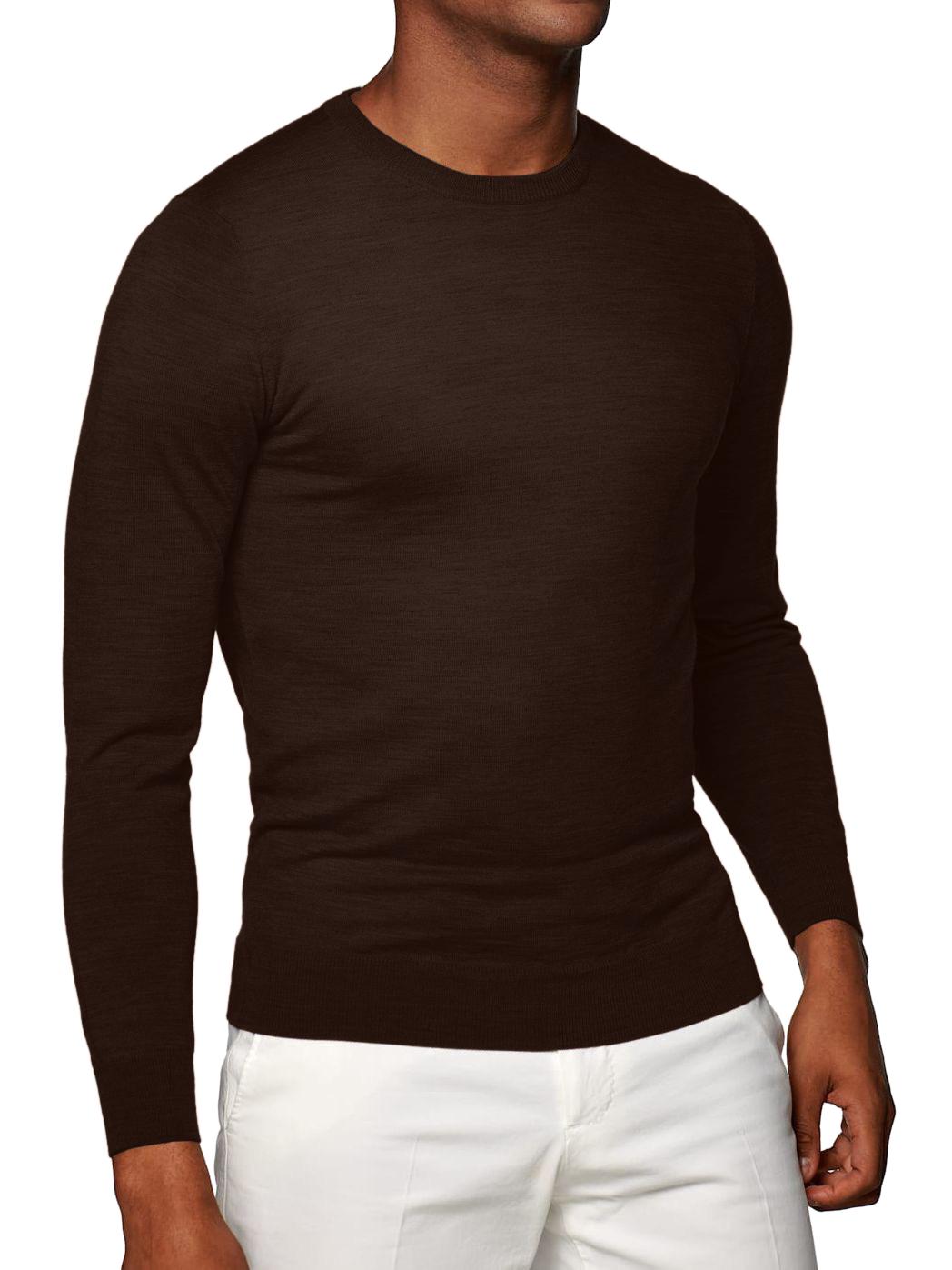 Chocolate Cashmere Crew Neck Sweater