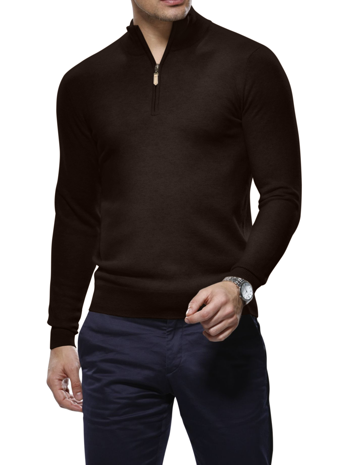 Chocolate Cashmere 1/4 Zip Mock Sweater