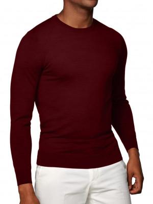 Dark Merlot Merino Wool Crew Neck Sweater