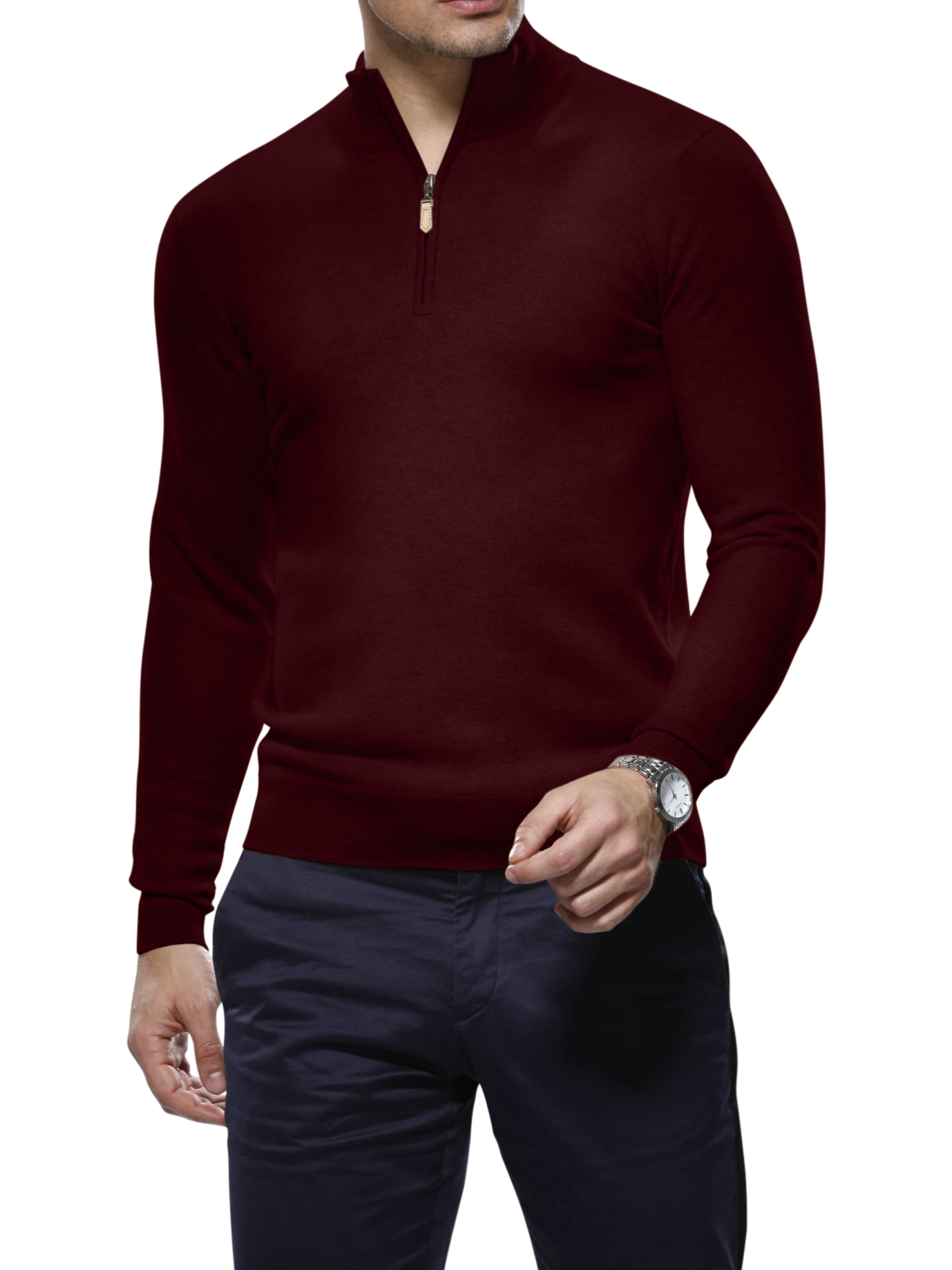 Dark Merlot Merino Wool 1/4 Zip Mock Sweater