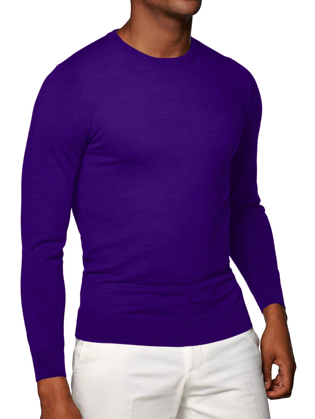 Eggplant Merino Wool Crew Neck Sweater