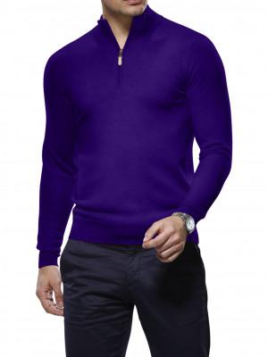 Eggplant Merino Wool 1/4 Zip Mock Sweater