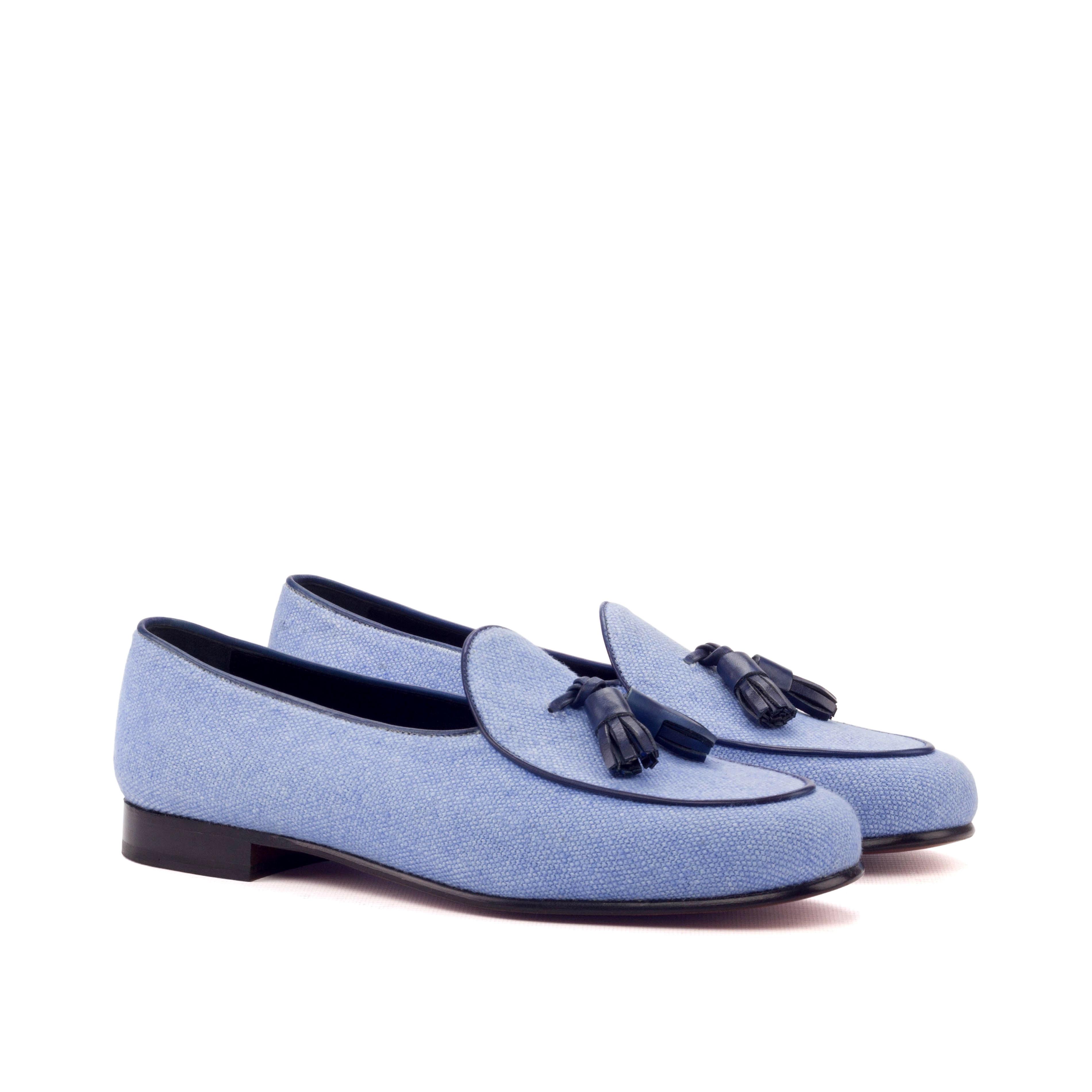 Blue Linen Belgian Slipper