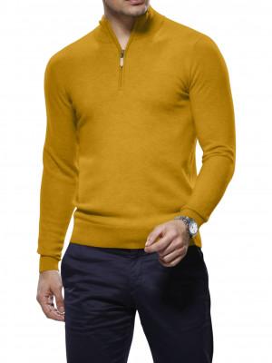 Gold Merino Wool 1/4 Zip Mock Sweater