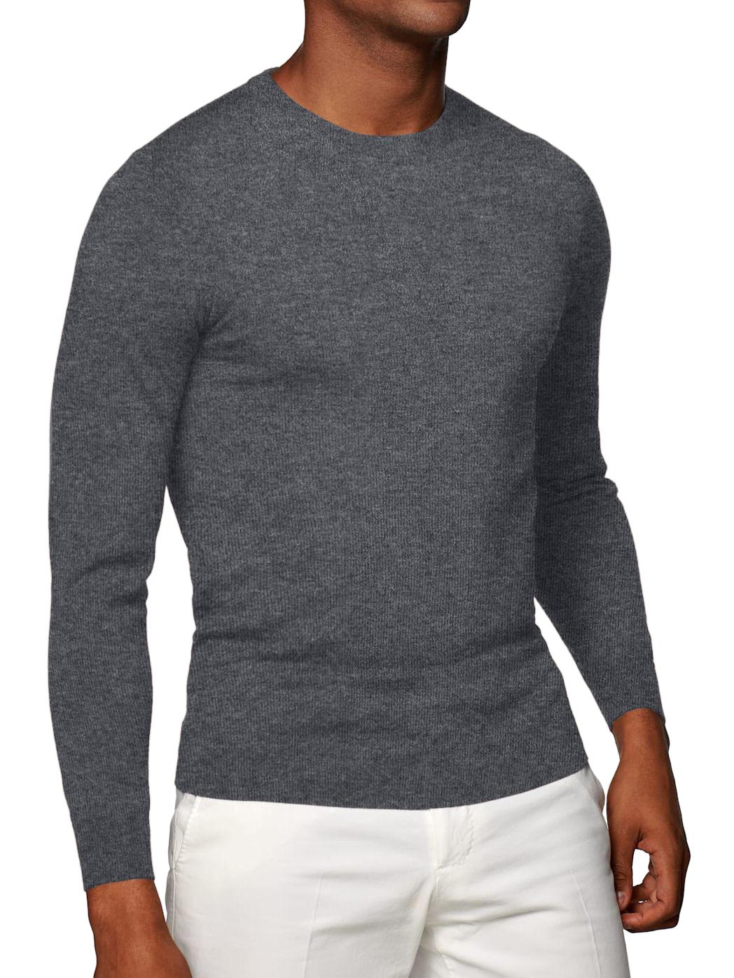 Grey Merino Wool Crew Neck Sweater