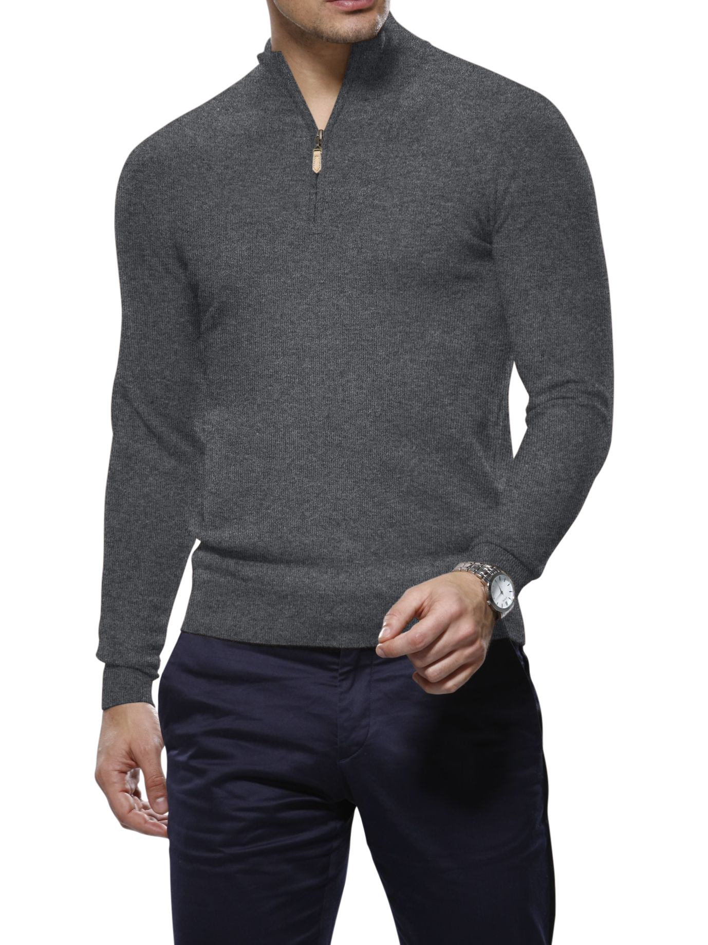 Grey Merino Wool 1/4 Zip Mock Sweater