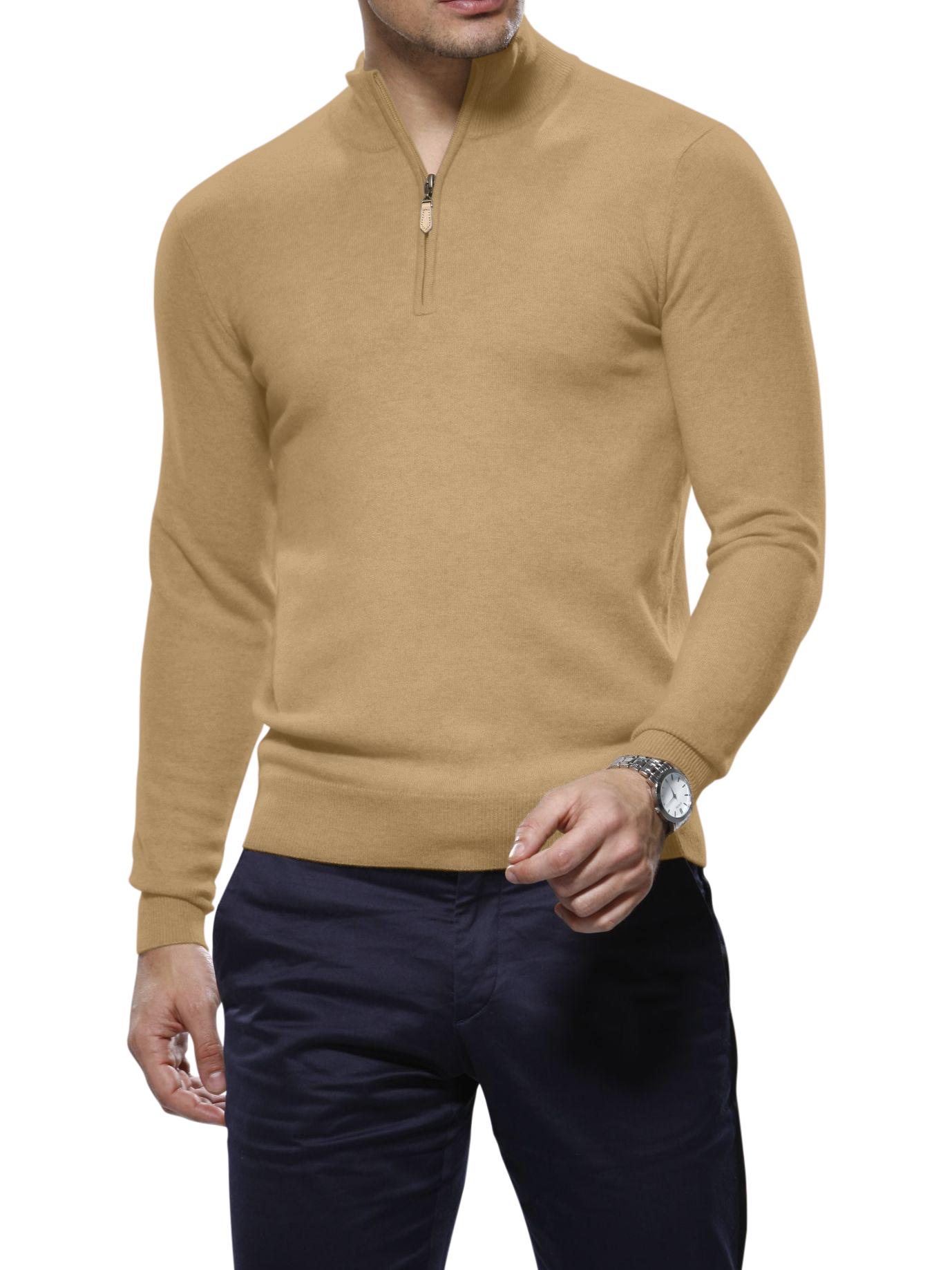Light Camel Merino Wool 1/4 Zip Mock Sweater