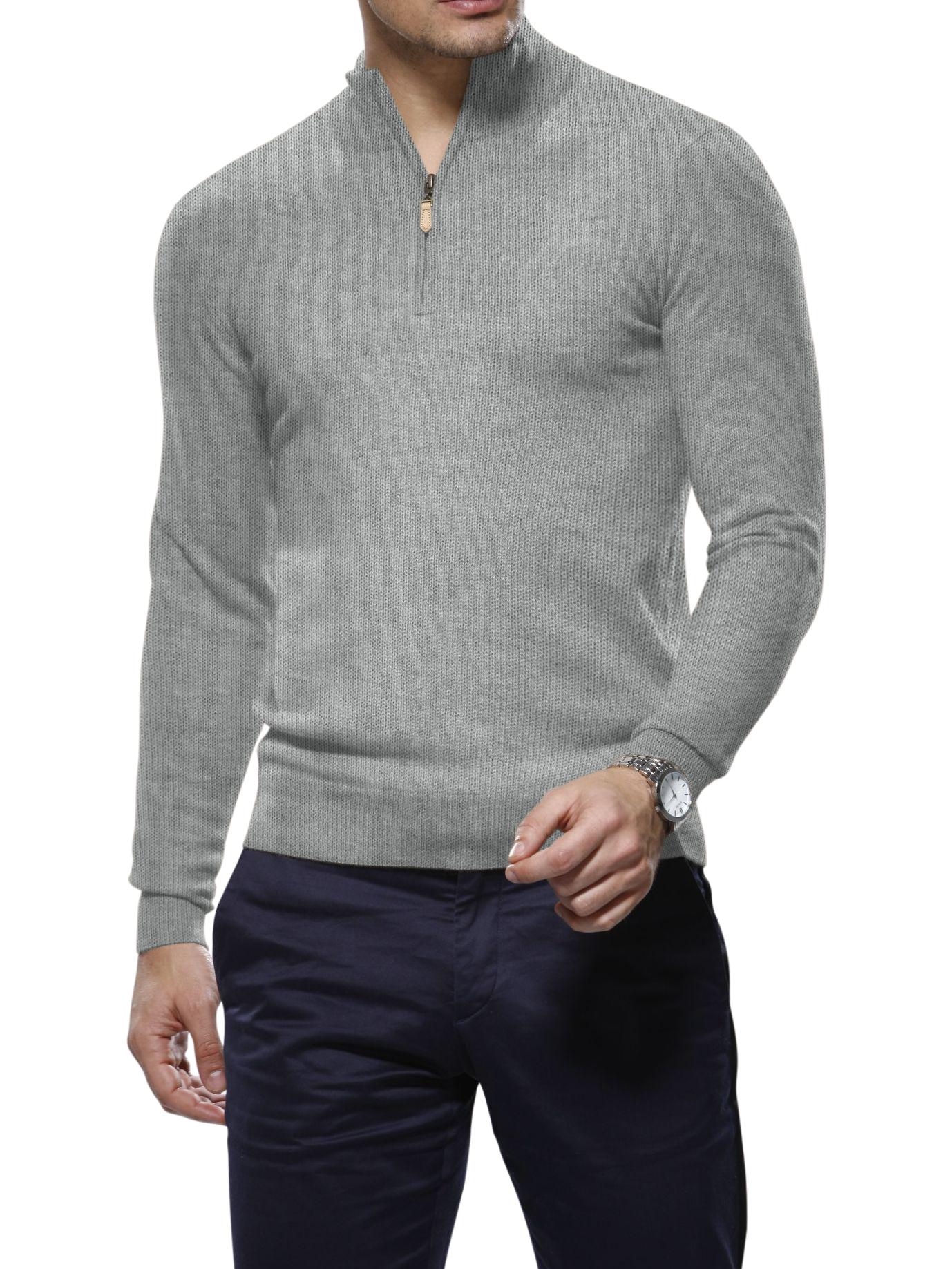 Light Grey Cashmere 1/4 Zip Mock Sweater