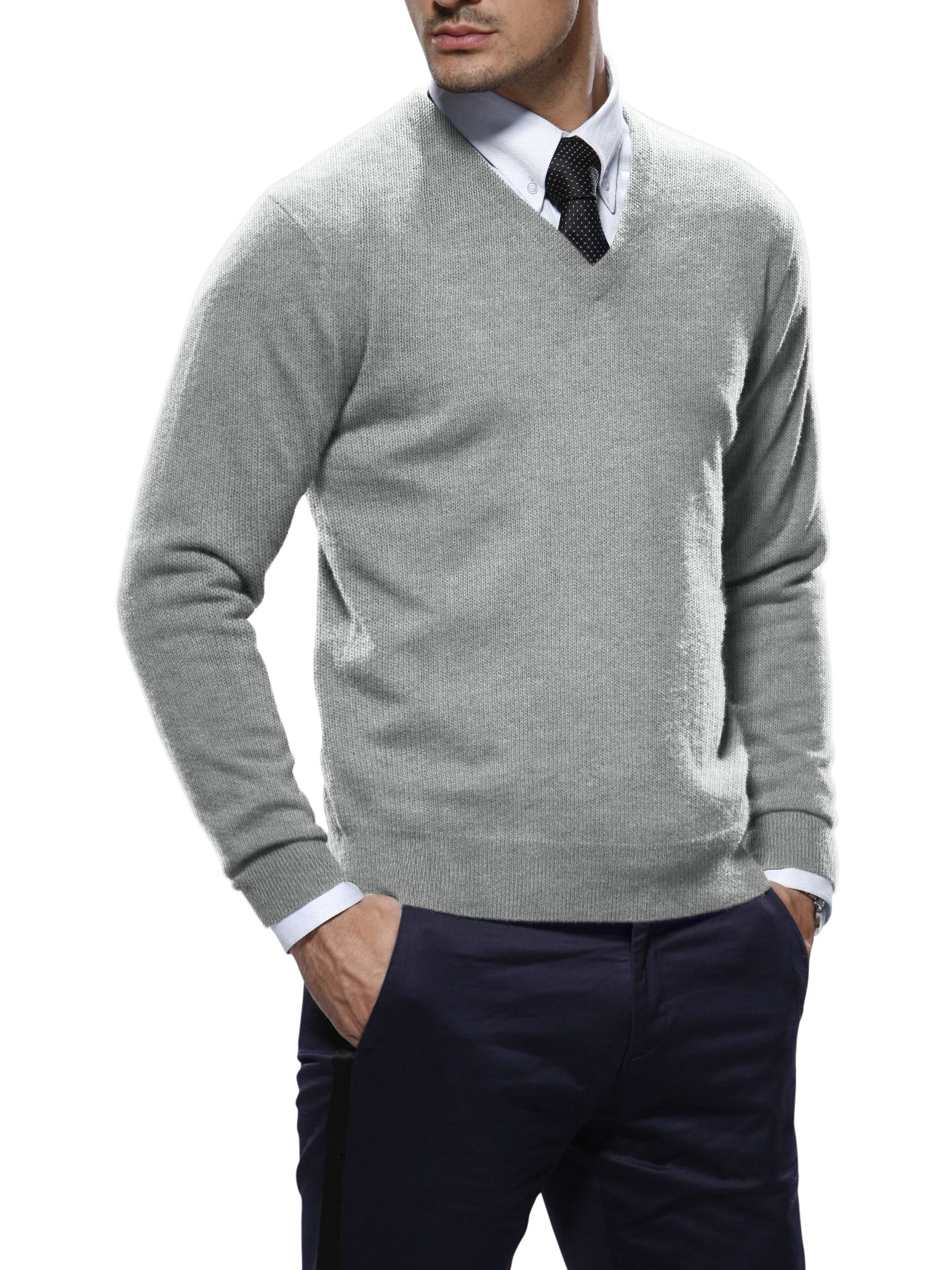 Light Grey Cashmere V-Neck Sweater