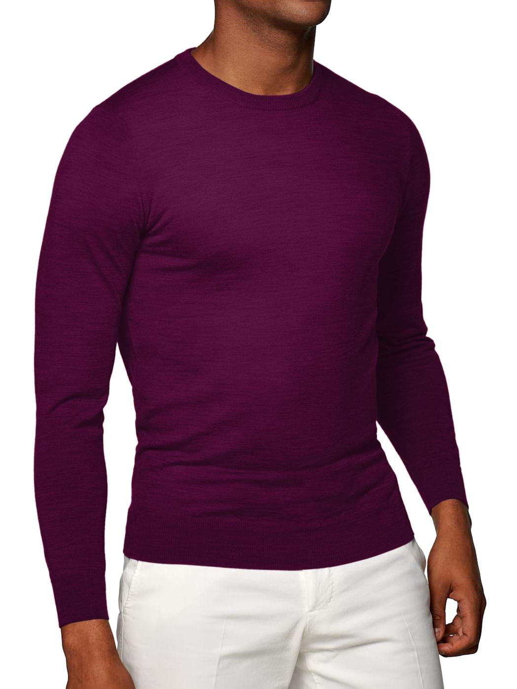 Light Purple Merino Wool Crew Neck Sweater