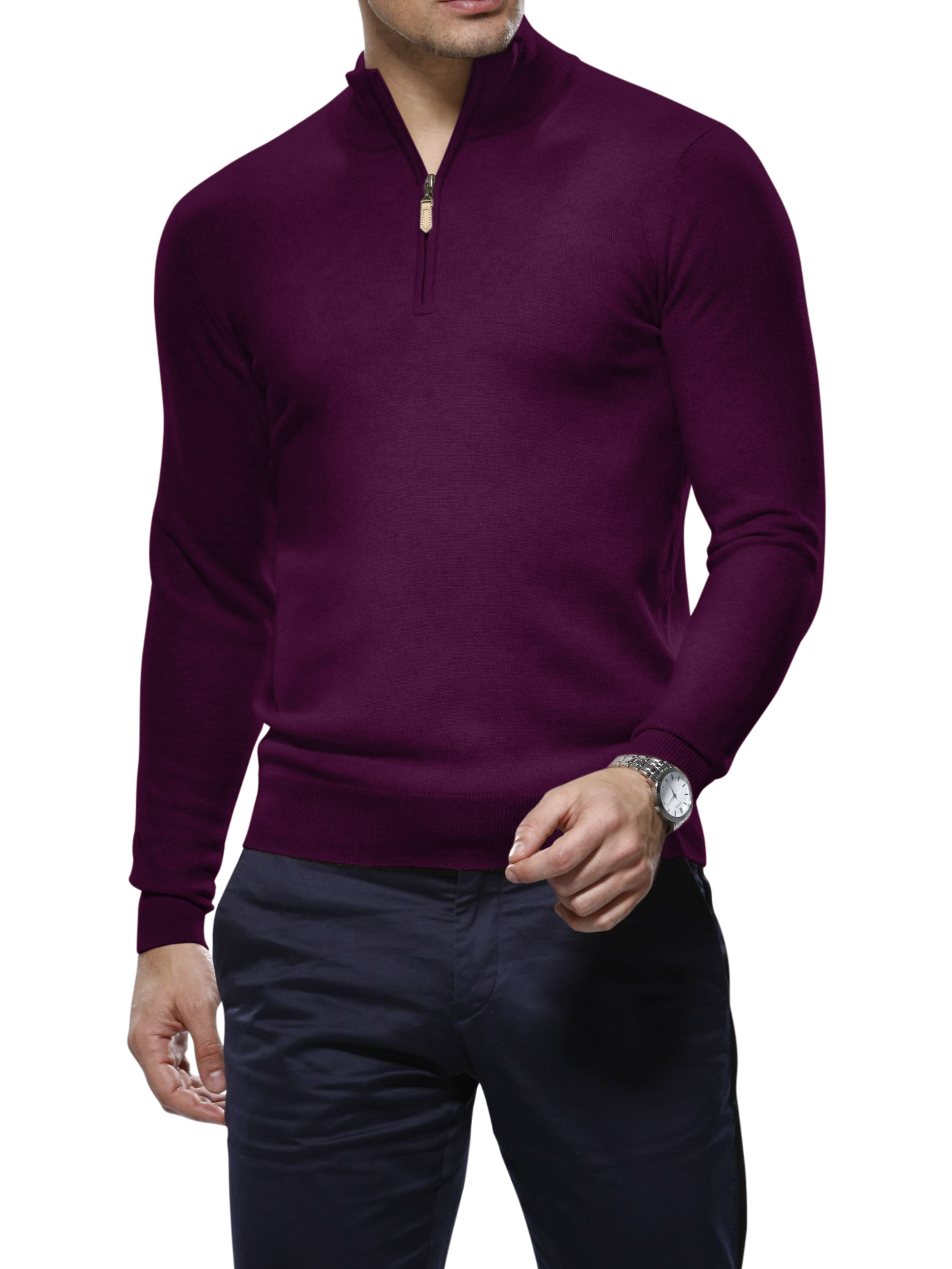 Light Purple Merino Wool 1/4 Zip Mock Sweater