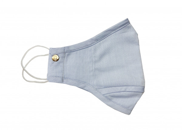 Baby Blue Micro Stripe Cotton Mask