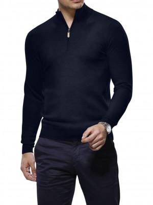 Navy Blue Merino Wool 1/4 Zip Mock Sweater
