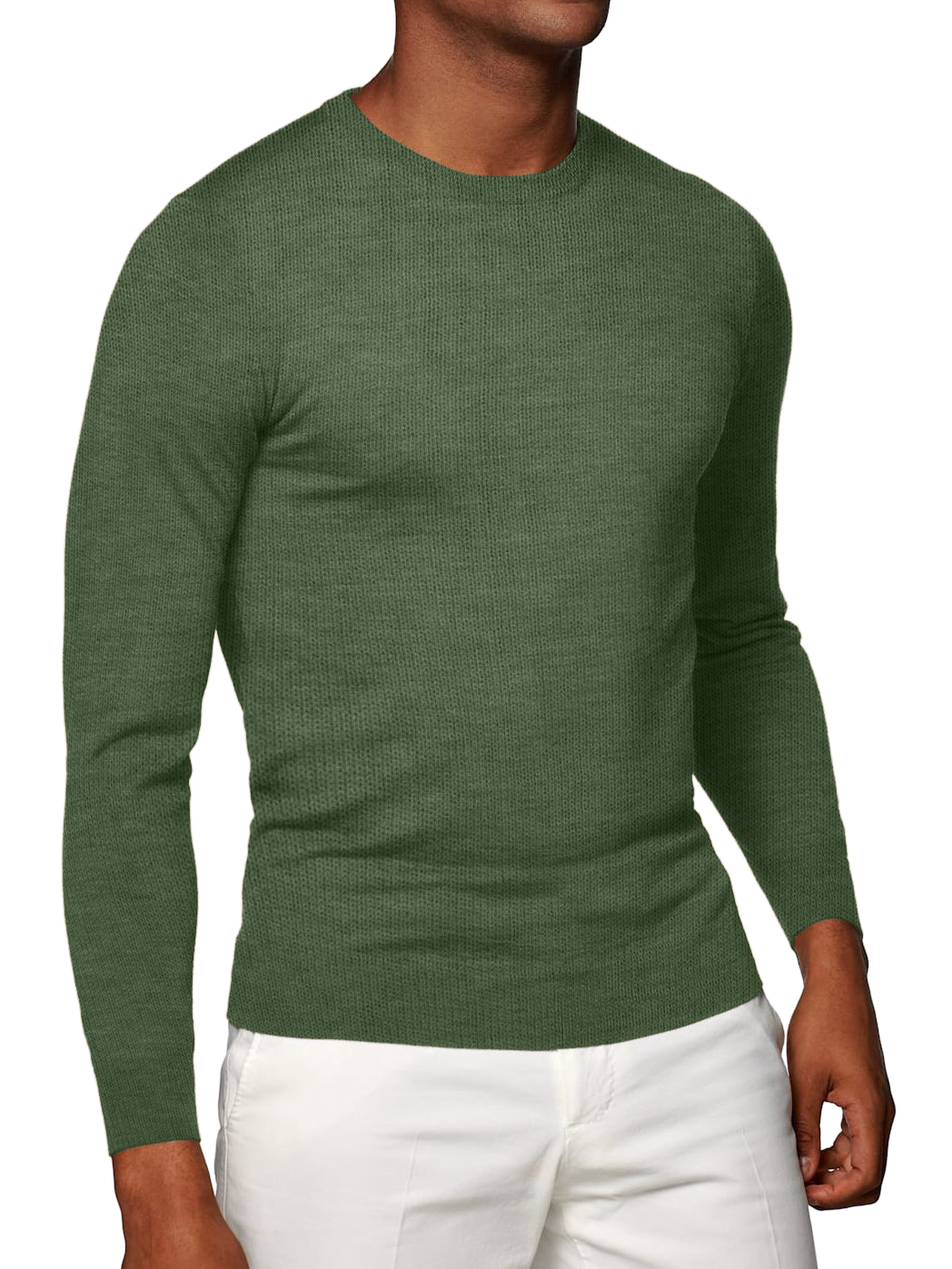 Olive Cashmere Crew Neck Sweater