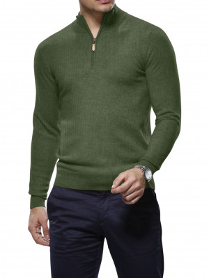Olive Cashmere 1/4 Zip Mock Sweater
