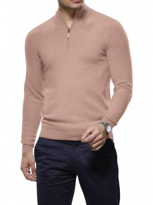 Pink Merino Wool 1/4 Zip Mock Sweater