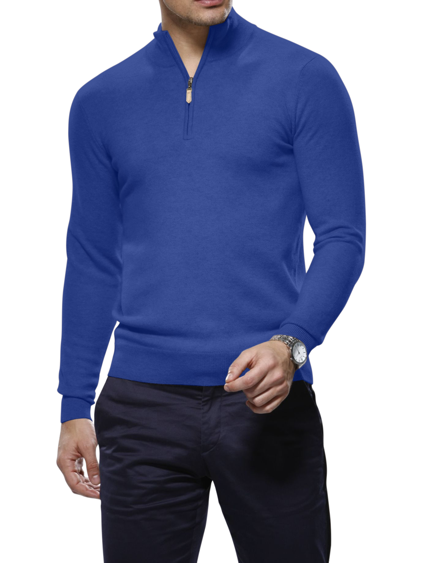 Prussian Blue Merino Wool 1/4 Zip Mock Sweater