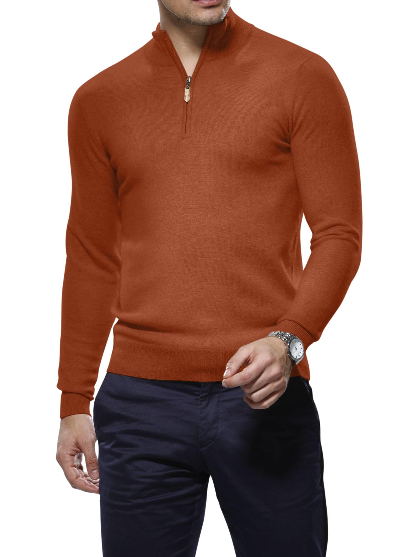 Rust Merino Wool 1/4 Zip Mock Sweater
