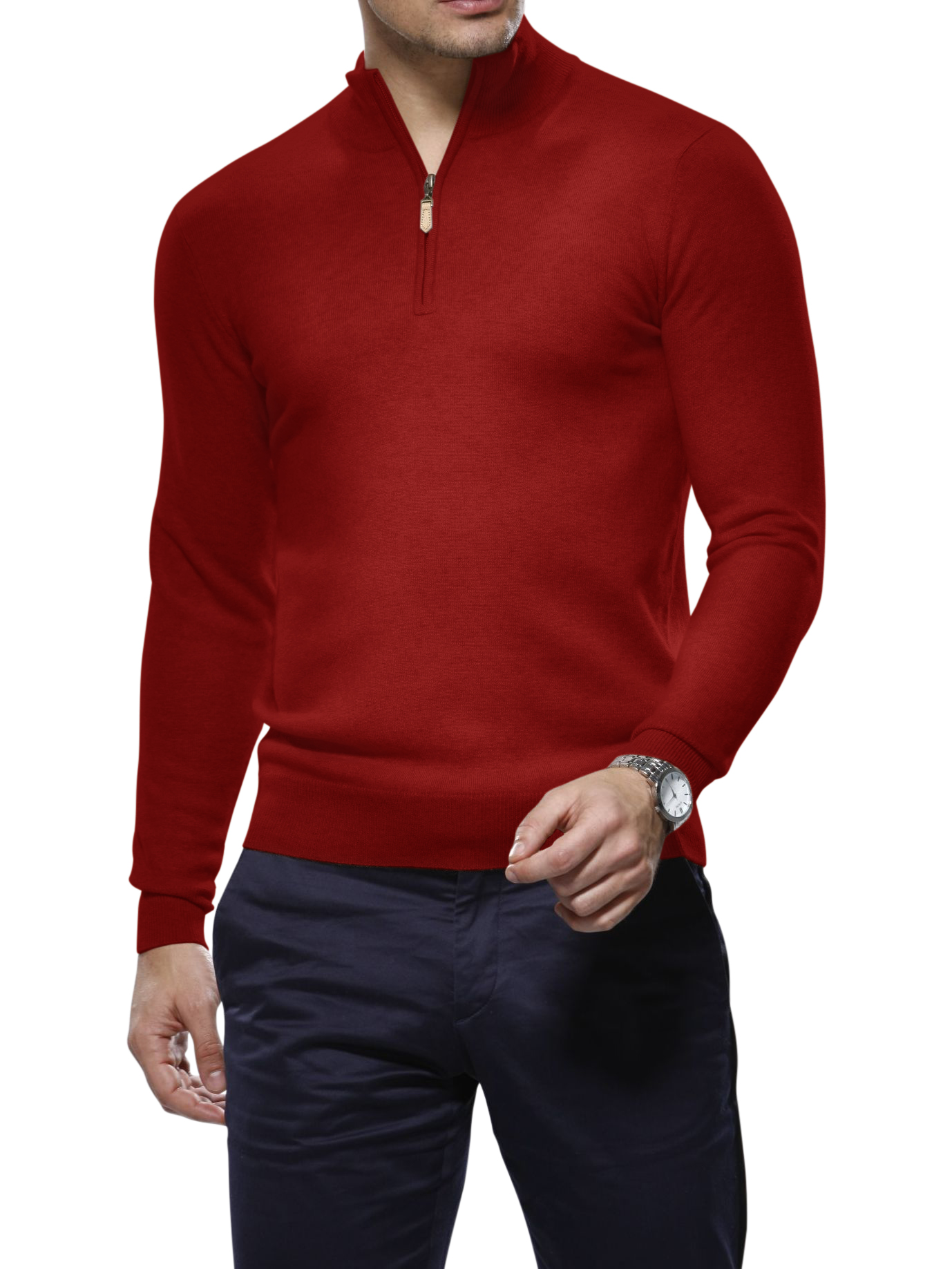 Red Cashmere 1/4 Zip Mock Sweater