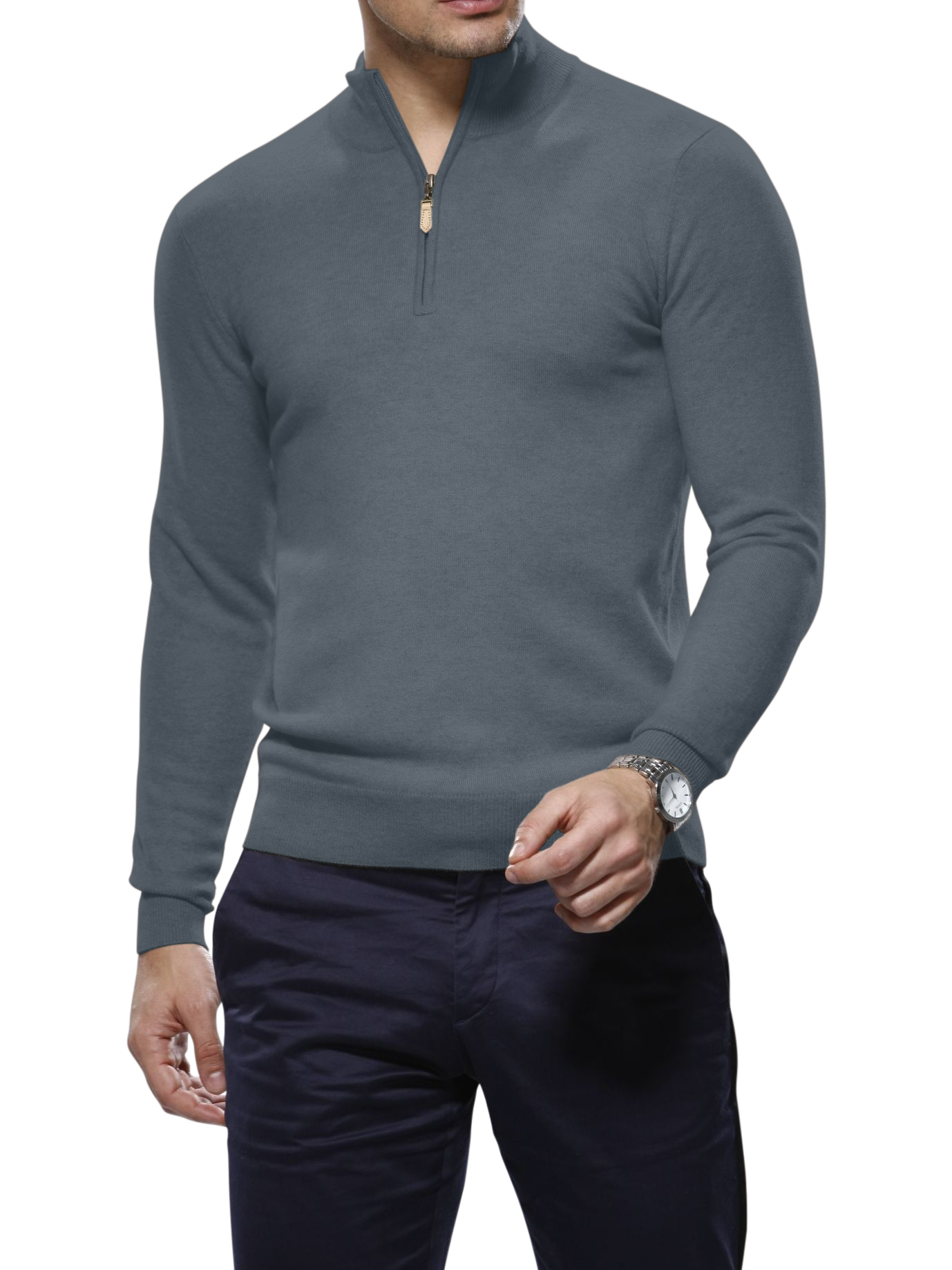 Smoke Merino Wool 1/4 Zip Mock Sweater