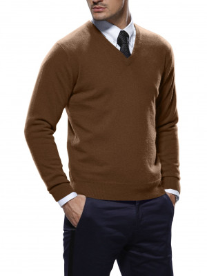 Syrup Brown Merino Wool V-Neck Sweater